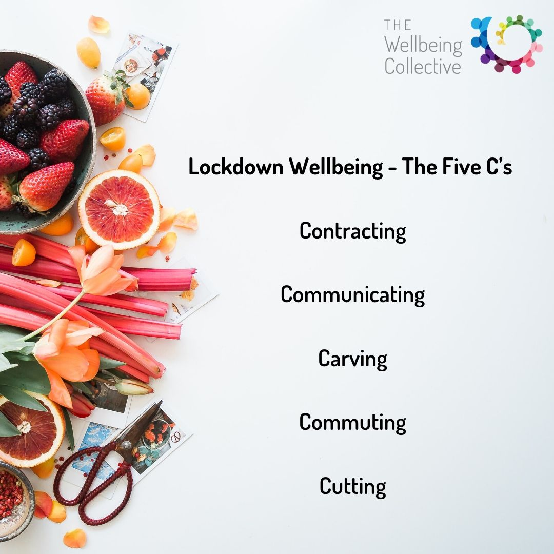 Lockdown wellbeing, the Five C's_ Contracting Communicating Carving Commuting Cutting…